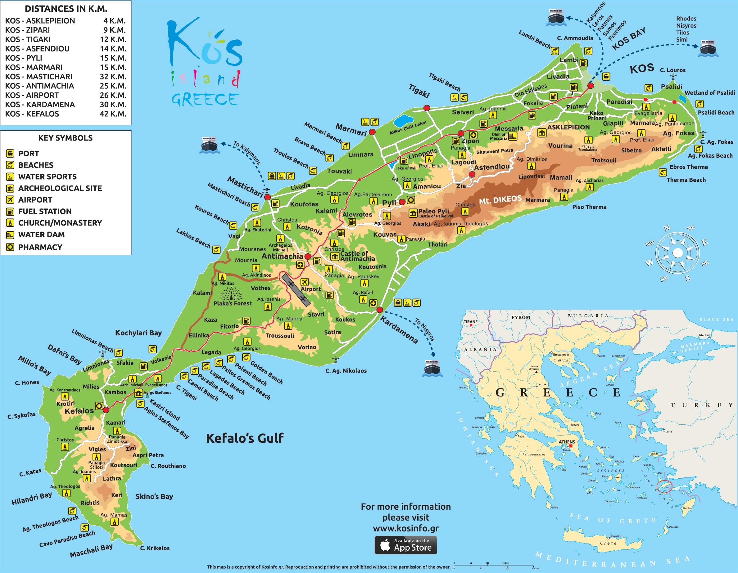 Kos Greece Map Kos Map   Kos Island Town, Greece Maps & Information Brochures